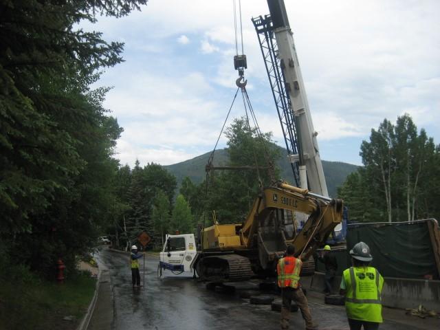 crane to road